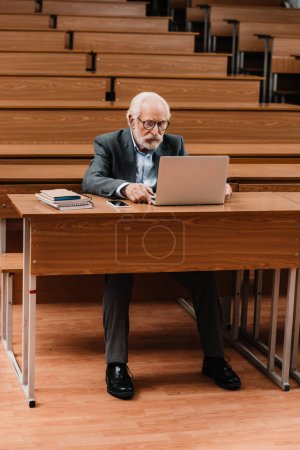 grey hair professor working with laptop