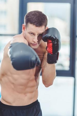 young caucasian muscular sportsman boxing in gym