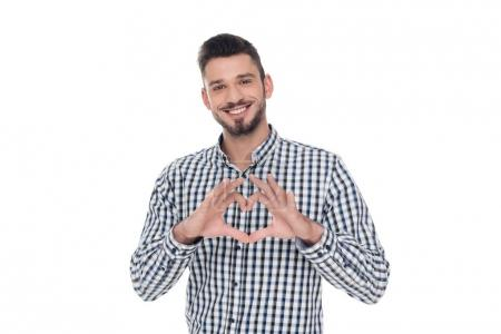 man showing heart with fingers isolated on white, valentines day concept