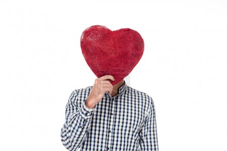 man covering face with heart of threads isolated on white, valentines day concept