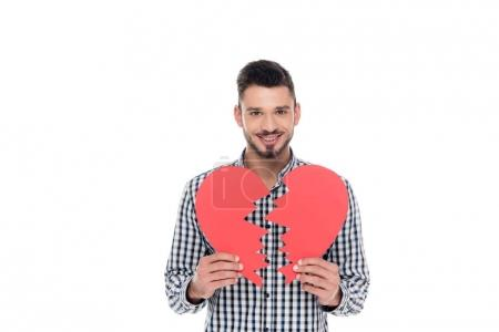 happy man holding two pieces of paper heart isolated on white, valentines day concept