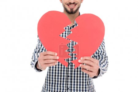 cropped image of man holding two pieces of paper heart isolated on white, valentines day concept