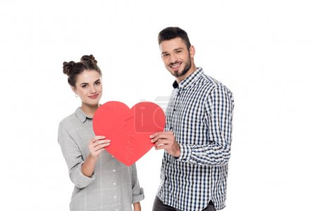 couple holding two pieces of paper heart isolated on white, valentines day concept