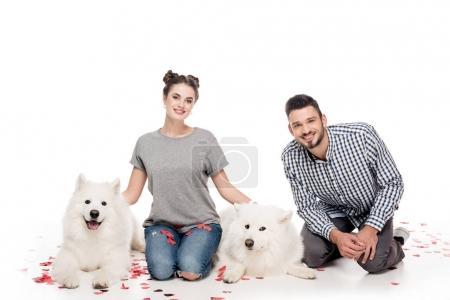 Photo pour Couple avec des chiens et des confettis en forme de coeur sur blanc, concept de Saint Valentin - image libre de droit