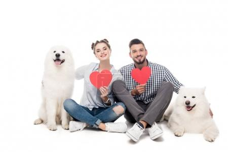 happy couple with samoyed dogs and paper hearts on white, valentines day concept