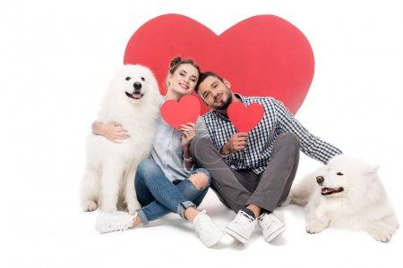 Photo pour Couple heureux avec des chiens samoyed et des coeurs de papier sur blanc, concept de Saint-Valentin - image libre de droit