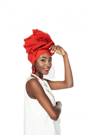 attractive african american woman in wire head wrap isolated on white
