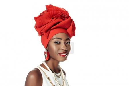 young african american woman in wire head wrap isolated on white