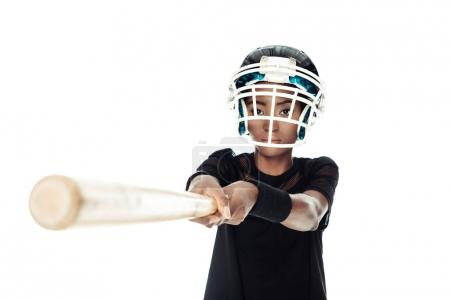 close-up shot of female baseball player with bat isolated on white