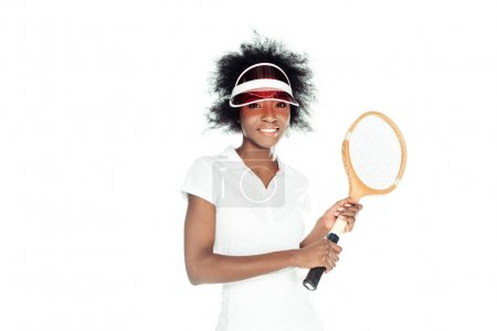 happy young female tennis player with racket isolated on white
