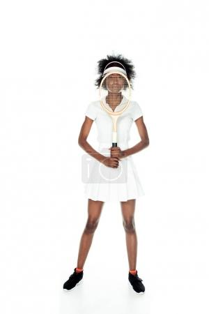 female tennis player in white sportswear with racket in front of face isolated on white