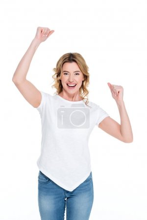 portrait of excited woman in white shirt isolated on white