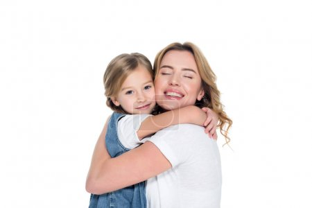 Photo for Cheerful mother and daughter hugging isolated on white - Royalty Free Image
