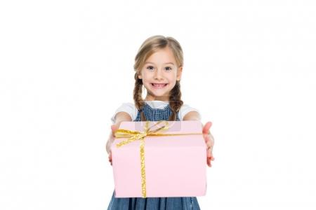 adorable kid with pink gift box, isolated on white