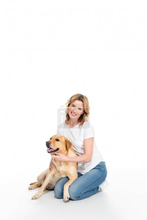 cheerful woman with golden retriever dog, isolated on white