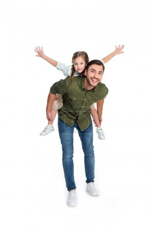 Photo for Happy father and daughter piggybacking together isolated on white - Royalty Free Image
