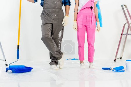 cropped image boyfriend and girlfriend making repairs