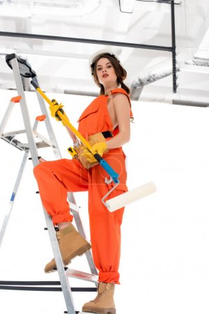 beautiful workwoman in overalls holding painting roller and standing on ladder
