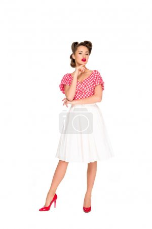 beautiful pensive woman in retro style clothing isolated on white