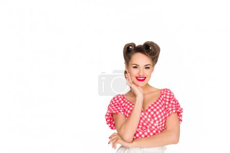 Photo for Portrait of beautiful smiling woman in retro style clothing isolated on white - Royalty Free Image
