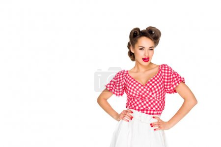portrait of attractive young woman in retro clothing isolated on white
