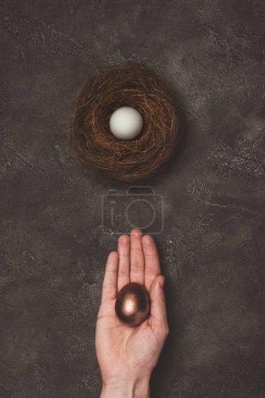 abgeschnittene Ansicht des Mannes mit goldenem Ei in der Hand, weißes Ei im Nest in der Nähe