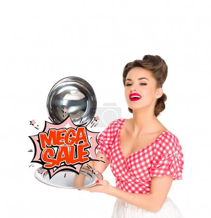 beautiful young woman in retro clothing with mega sale comic style sign on serving tray in hands isolated on white