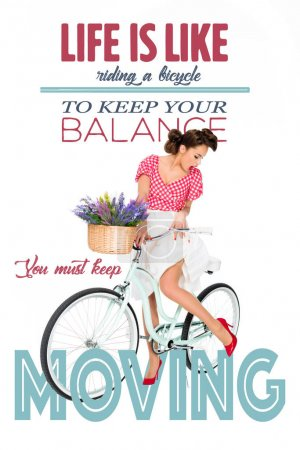 attractive pin up woman on retro bicycle with motivational quote isolated on white