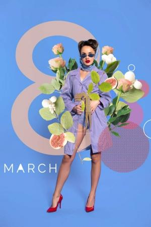 Photo for 8th march greeting card with fashionable woman in retro clothing and sunglasses with flowers - Royalty Free Image