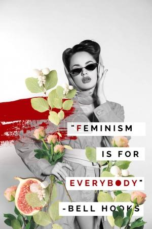 creative collage of stylish woman in retro clothing and sunglasses with flowers and feminism is for everybody quote