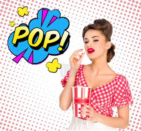 portrait of beautiful young woman with popcorn and comic style pop sign isolated on white