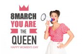 portrait of fashionable young woman in pin up style clothing with loudspeaker and 8th march greeting inscription isolated on white
