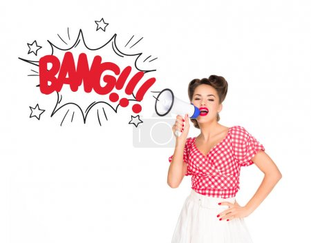 portrait of fashionable young woman in pin up style clothing with comic style boom explode out of loudspeaker isolated on white