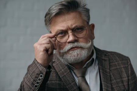Photo pour Senior sérieux en costume de tweed et lunettes regardant la caméra - image libre de droit