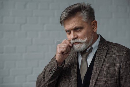 stylish senior man in tweed suit with mustaches