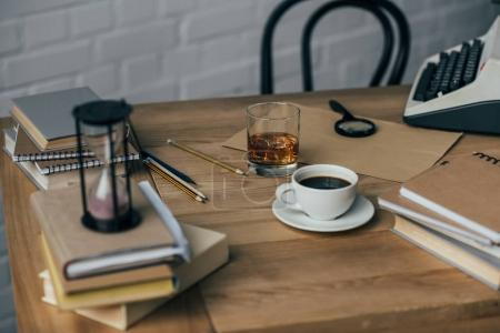 Photo for Old fashioned writer workplace with coffee and whiskey glass - Royalty Free Image
