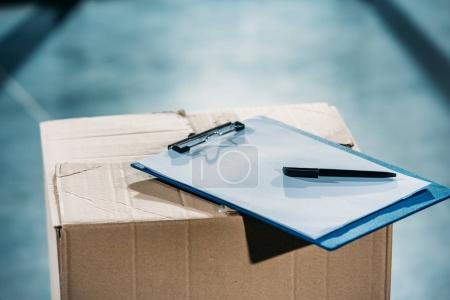 Photo for Empty cargo declaration on cardboard package - Royalty Free Image