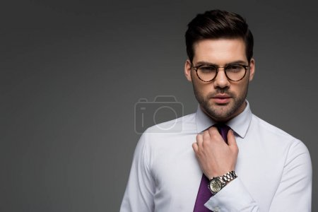 Photo for Portrait of businessman in glasses correcting tie isolated on grey - Royalty Free Image