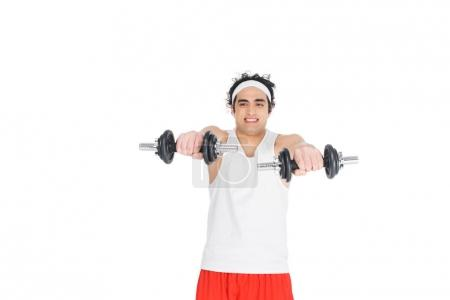 Skinny man in sportswear holding dumbbells isolated on white