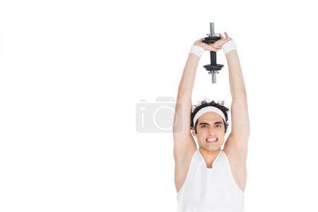 Young skinny man holding dumbbell over own head