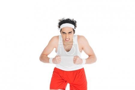 Photo pour Portrait de sportif mince en colère isolé sur blanc - image libre de droit