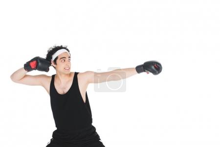 Photo for Young skinny boxer preparing to hit isolated on white - Royalty Free Image