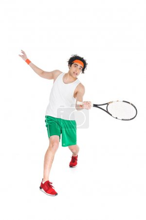 Photo for Thin tennis player exercising with racket isolated on white - Royalty Free Image