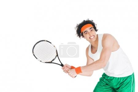 Thin tennis player exercising with racket isolated on white