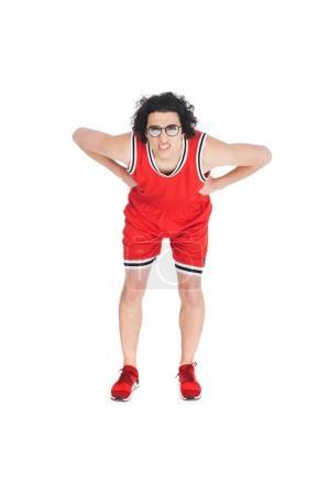 Skinny sportsman in eyeglasses squinting isolated on white