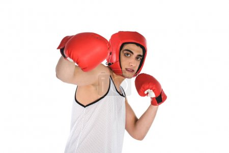 Young skinny boxer beating by hand isolated on white