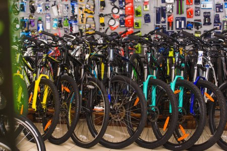 Photo for Various bikes displayed in bicycle shop - Royalty Free Image