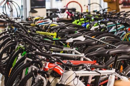 Photo for Various bicycles displayed in bike shop - Royalty Free Image