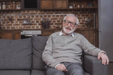 Photo for Smiling handsome grey hair man sitting on sofa at home - Royalty Free Image