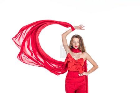 Photo pour Modèle attrayant, posant dans des vêtements rouges, isolés sur blanc - image libre de droit
